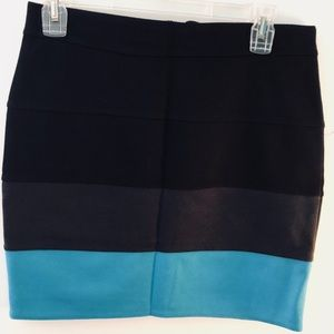 Black and Turquoise Mini Skirt WORN ONCE